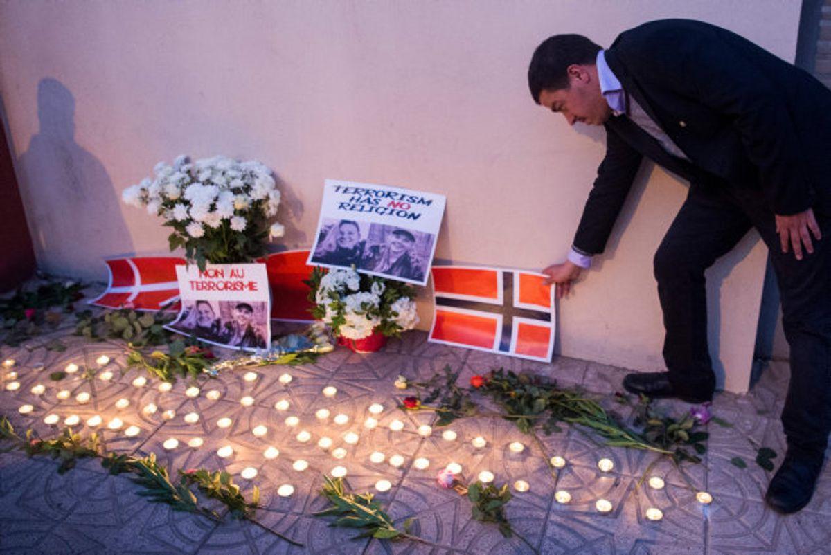 De to dræbte studerende Louisa Vesterager Jespersen og Maren Ueland mindes i disse dage ved flere mindehøjtideligheder. Billedet her er fra Marrakesh i Marokko fredag. Foto: Fadel Senna/AFP