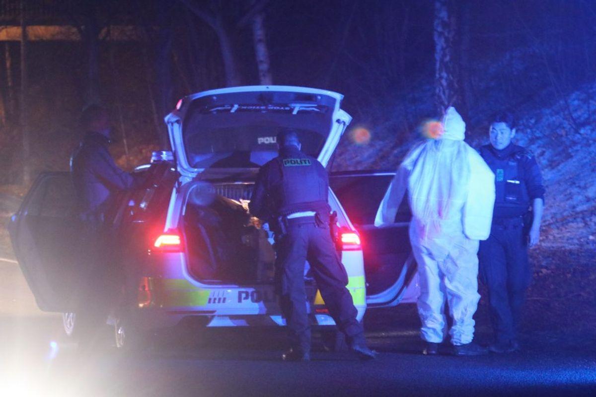 Tre personer blev tirsdag aften stukket ned i Humlebæk Center. KLIK for flere billeder. Foto: Presse-fotos.dk.