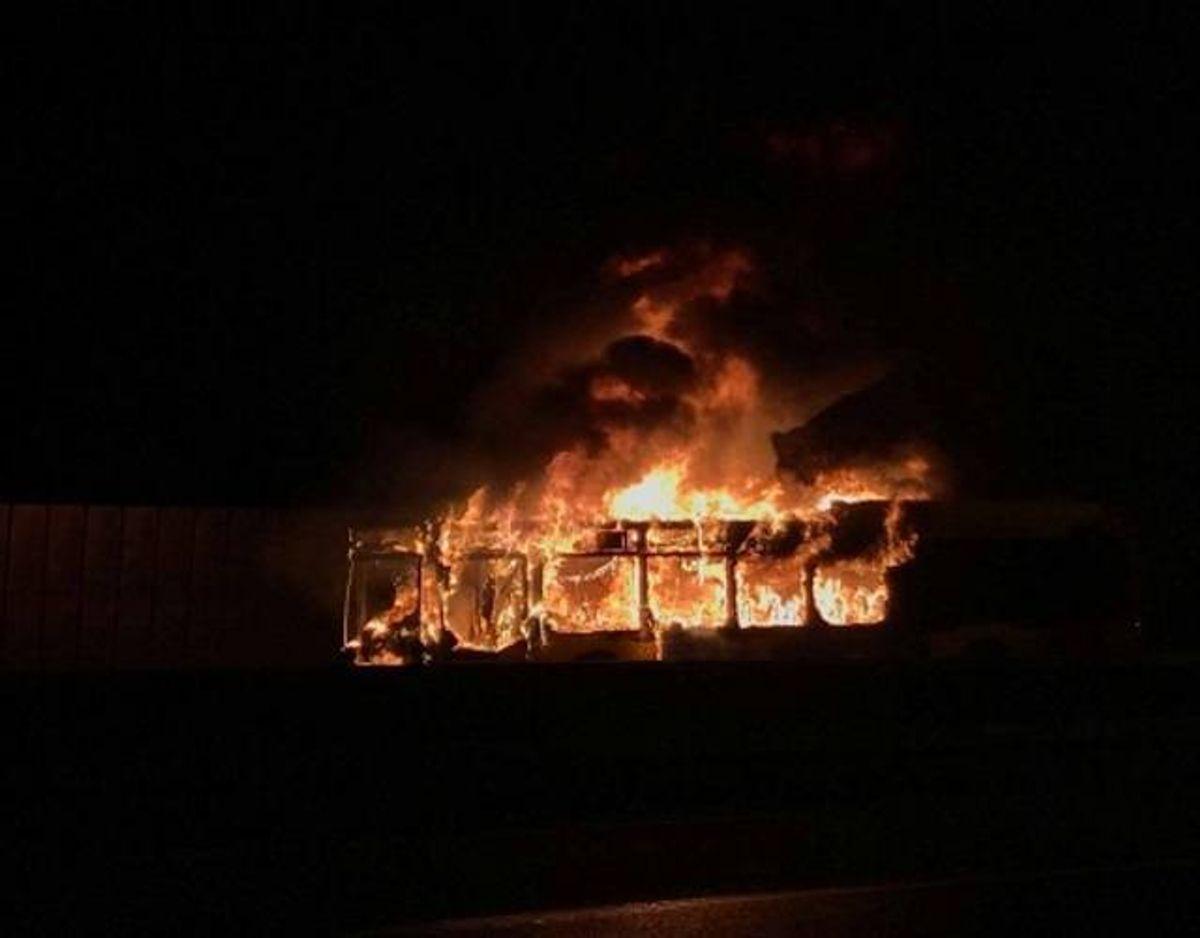 Ingen kom noget til, da bussen brændte. Foto: Presse-foto.dk