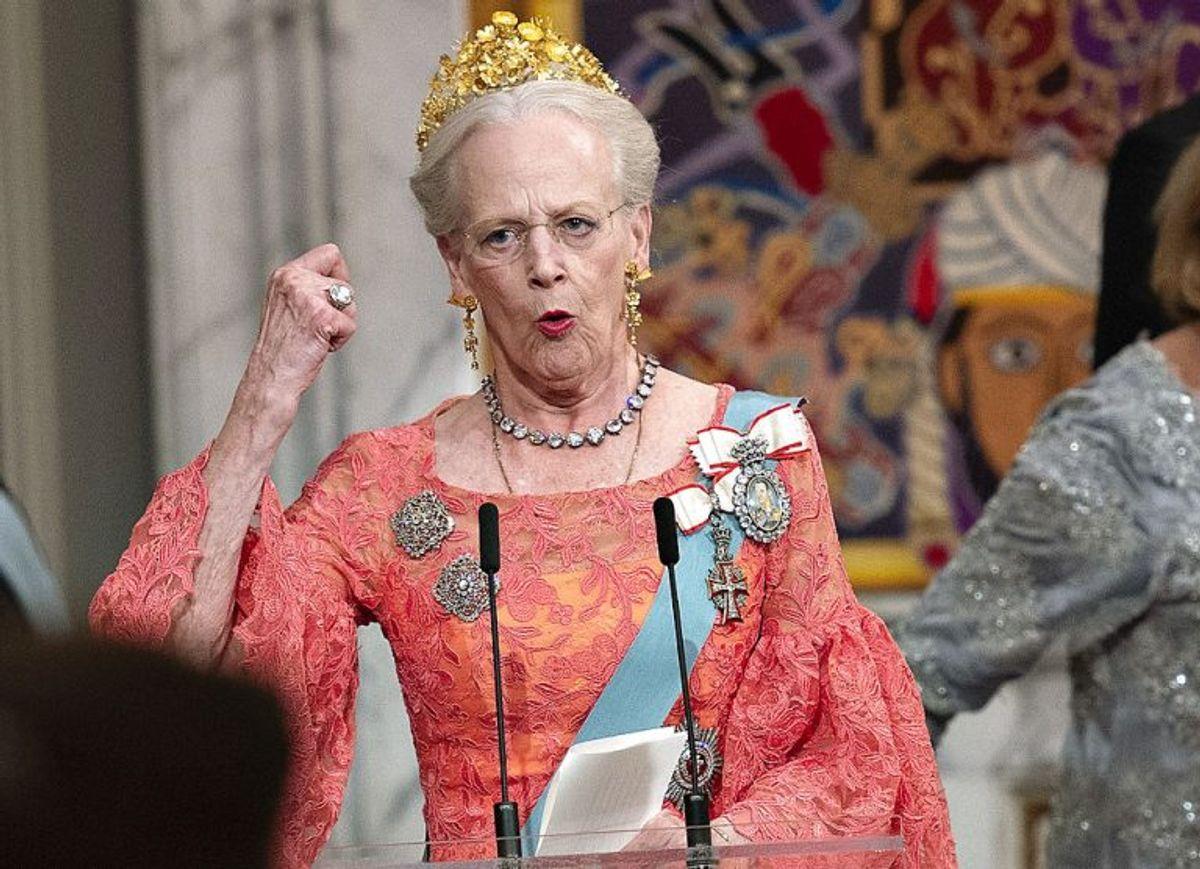 Kronprinsen 50 år: Dronning Margrethe holder tale for Kronprins Frederik ved Gallataflet på Christiansborg Slot lørdag den 26. maj 2018.. (Foto: Keld Navntoft/Ritzau Scanpix)