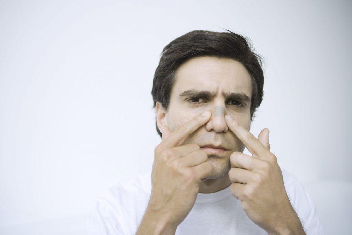 Synlig knude i næsen. Kilde: Kræftens Bekæmpelse. Arkivfoto.