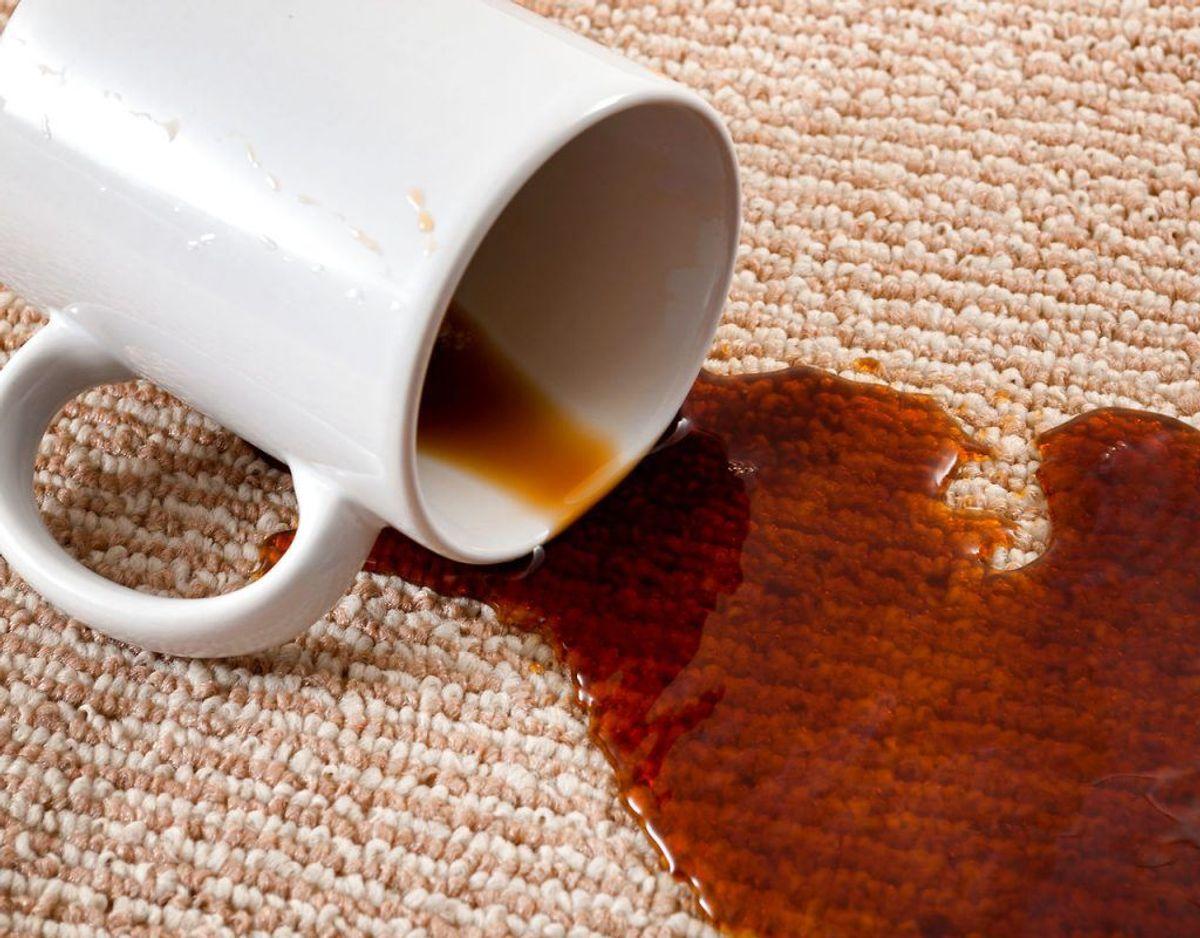 Kaffe på gulvtæppet? Tør så meget af kaffen op som muligt. Bland derefter en spiseskefuld flydende opvaskemiddel med en spiseskefuld lys eddike og to kopper varmt vand. Brug en ren, hvid klud, til at påføre blandingen på pletten en smule ad gangen. Til sidst dupper du med en tør klud, til pletten er væk. Foto: Scanpix