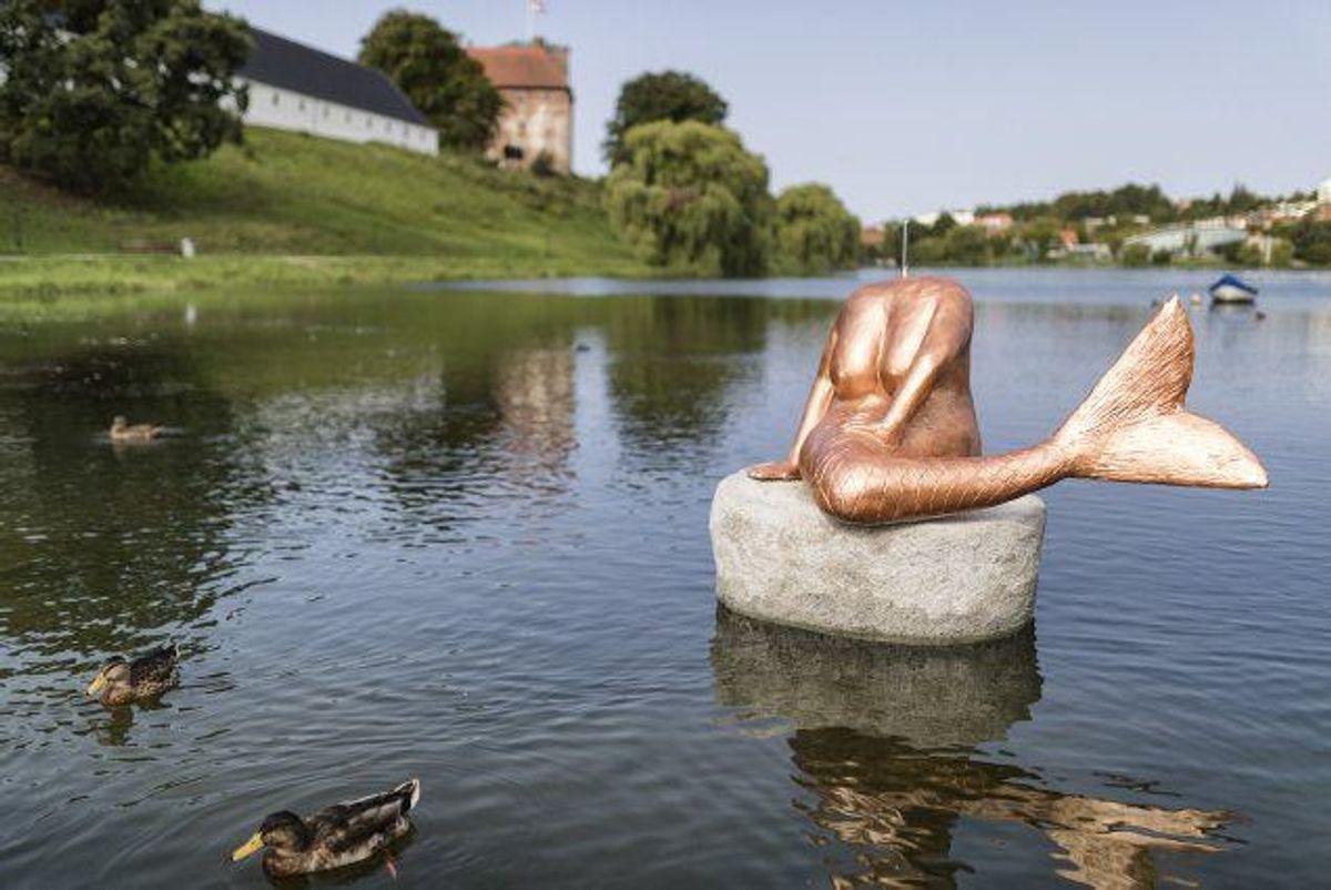 Den lille havfrue i Kolding har mistet hovedet. Kunstneren, Erik Valter, udlover en en Gammel Dansk og frit lejde som dusør til personen, der kan give oplysninger i sagen. Foto: Frank Cilius/arkiv/Scanpix