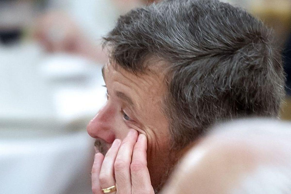 Kronprinsen 50 år: Kronprins Frederik kniber en tåre ved Gallataflet på Christiansborg Slot lørdag den 26. maj 2018.. (Foto: Keld Navntoft/Ritzau Scanpix)