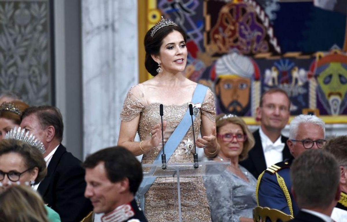 Kronprinsen 50 år: Kronprinsesse Mary holder tale for Kronprins Frederik ved Gallataflet på Christiansborg Slot lørdag den 26. maj 2018.. (Foto: Keld Navntoft/Ritzau Scanpix)