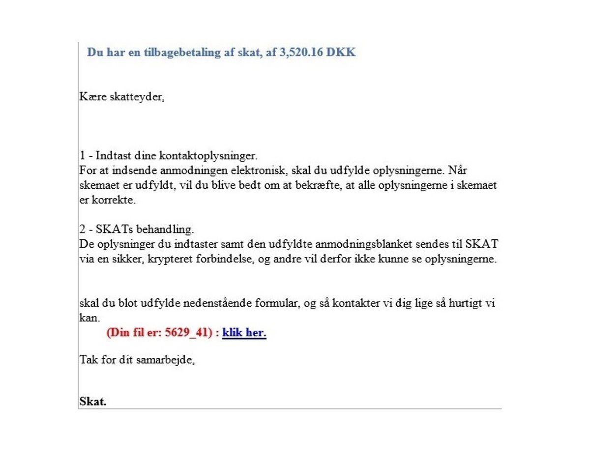 Denne mail er IKKE fra Skat.