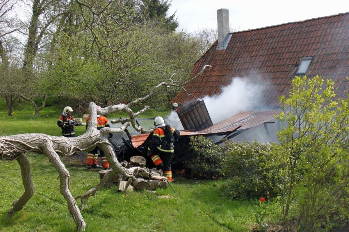 Her er det sidste år gået galt, da en ukrudtsbrænder satte fut til et brændeskur i Sdr. Stenerup ved Kolding. Foto: Elo Christoffersen