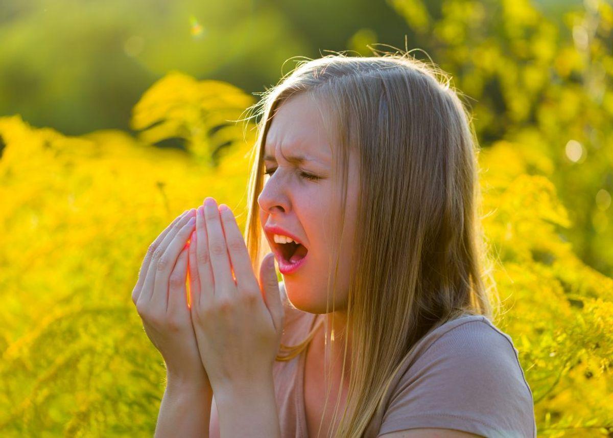 Undgå at hoste og nyse i din håndflade. Brug i stedet et engangslommetørklæde eller til nød ærmet. Foto: Colourbox.