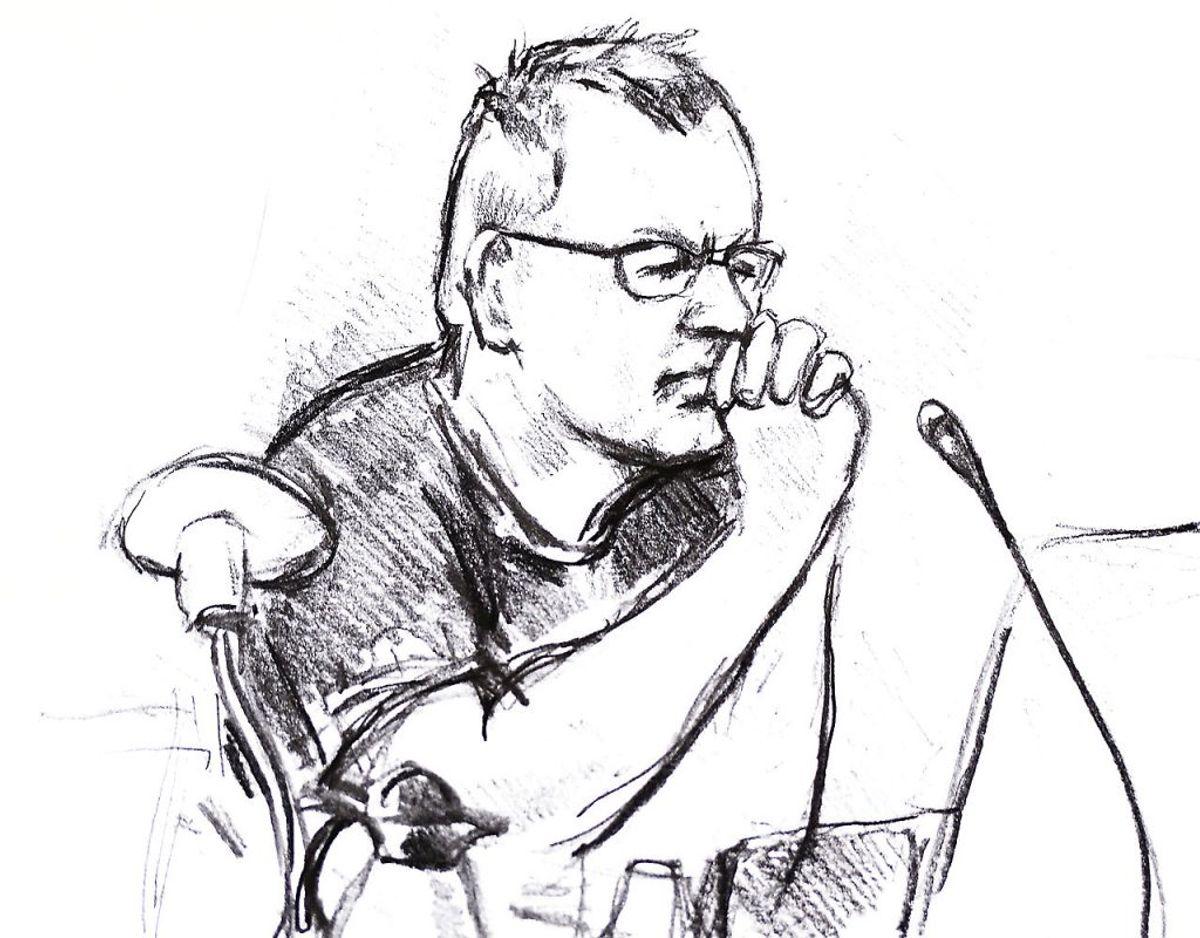 Tegning af Anne Gyrite Schütt fra retssagen mod Peter Madsen, fra første retsmøde 8. marts 2018. Andet retsmøde er 21. marts 2018.