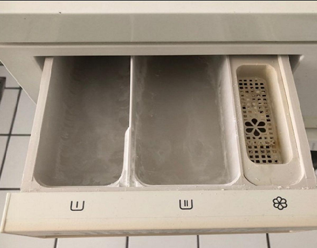 Hjælper det ikke, kan du rense din vaskemaskine: kom en teskefuld brun sæbe i maskinen, kør et program på 90°C uden tøj og efterfølgende et skylleprogram. Derudover skal du sørge for jævnligt at tømme risten, gøre filteret rent, rengør gummiringen i lågen grundigt og vaske sæbebakken. Foto: Jørgen Rosengren/Newsbreak.dk.
