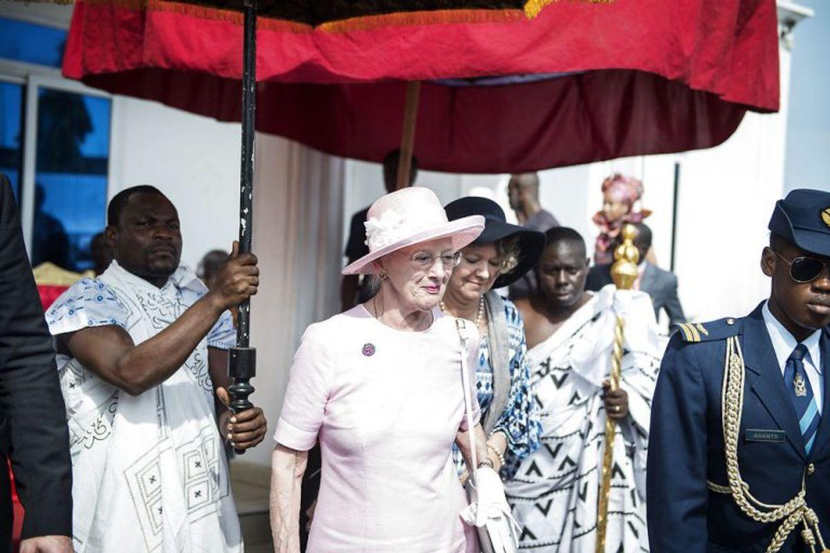 Dronning Magrethe besøger Osu Kongen i Ghana, torsdag den 23. november 2017. Fredag fortsætter et tætpakket program i det vestafrikanske land. Foto: Sarah Christine Nørgaard/Scanpix