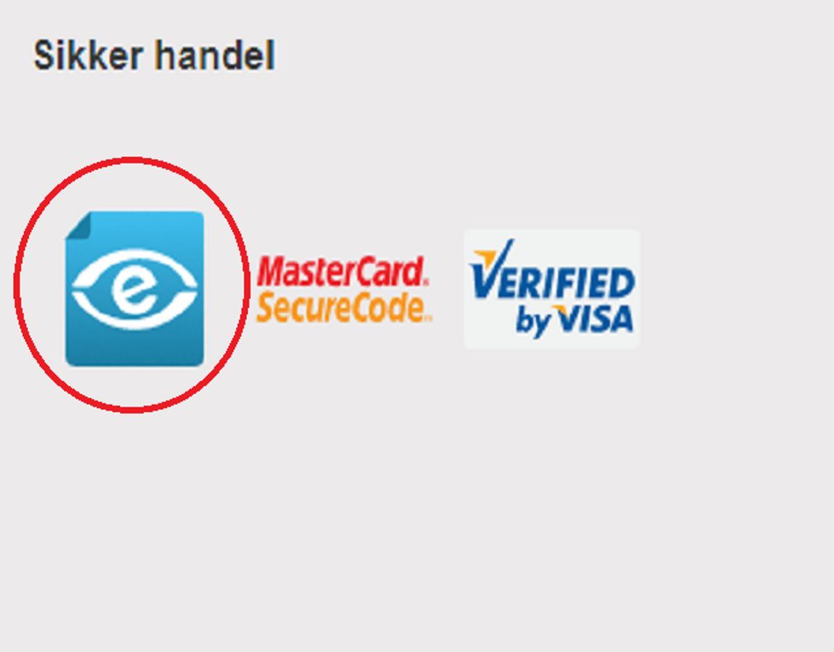 Tjek om netbutikken er e-mærket. Mærket indikerer, at det er i orden at handle der. Foto: Screenshot.