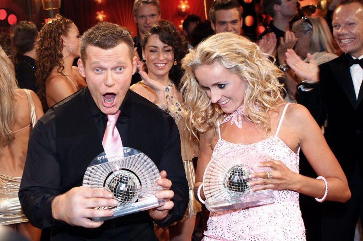 Den OL-vindende kuglestøder deltog i dansekonkurrencen i 2008 og vandt den med Marianne Eihilt. Foto: Mogens Flindt/Scanpix (Arkivfoto)
