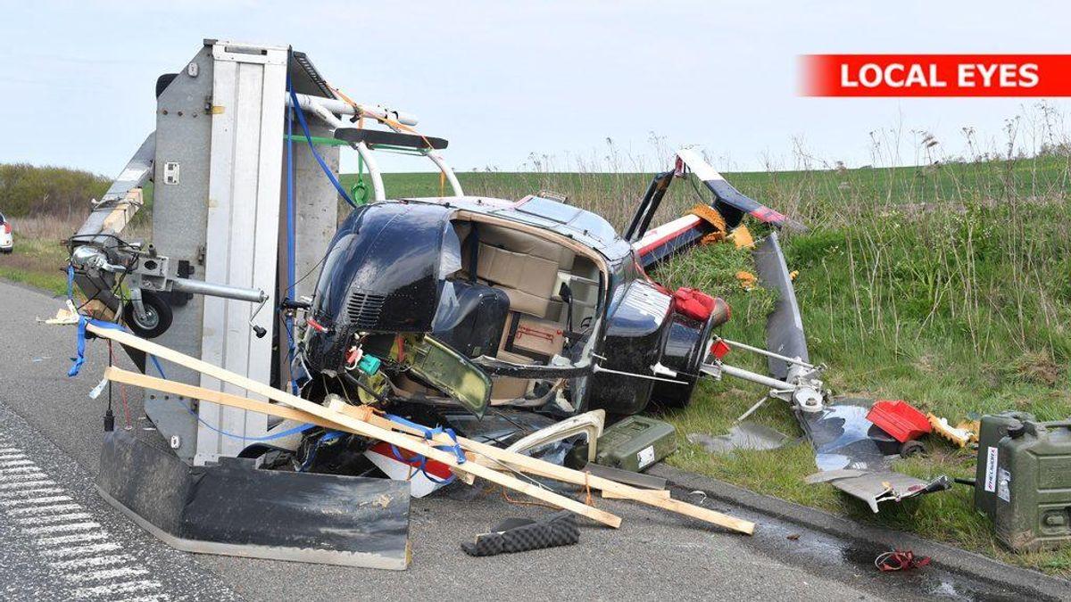 Der ligger en helikopter på motorvejen mellem Hjørring og Hirtshals. Foto: Local Eyes