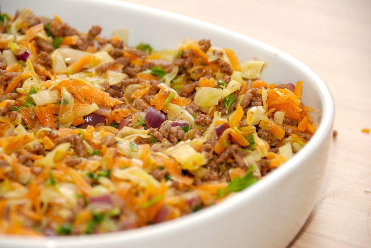 Lækker hverdagsmad med hakket oksekød og spidskål i ovn. Foto: Guffeliguf.dk.