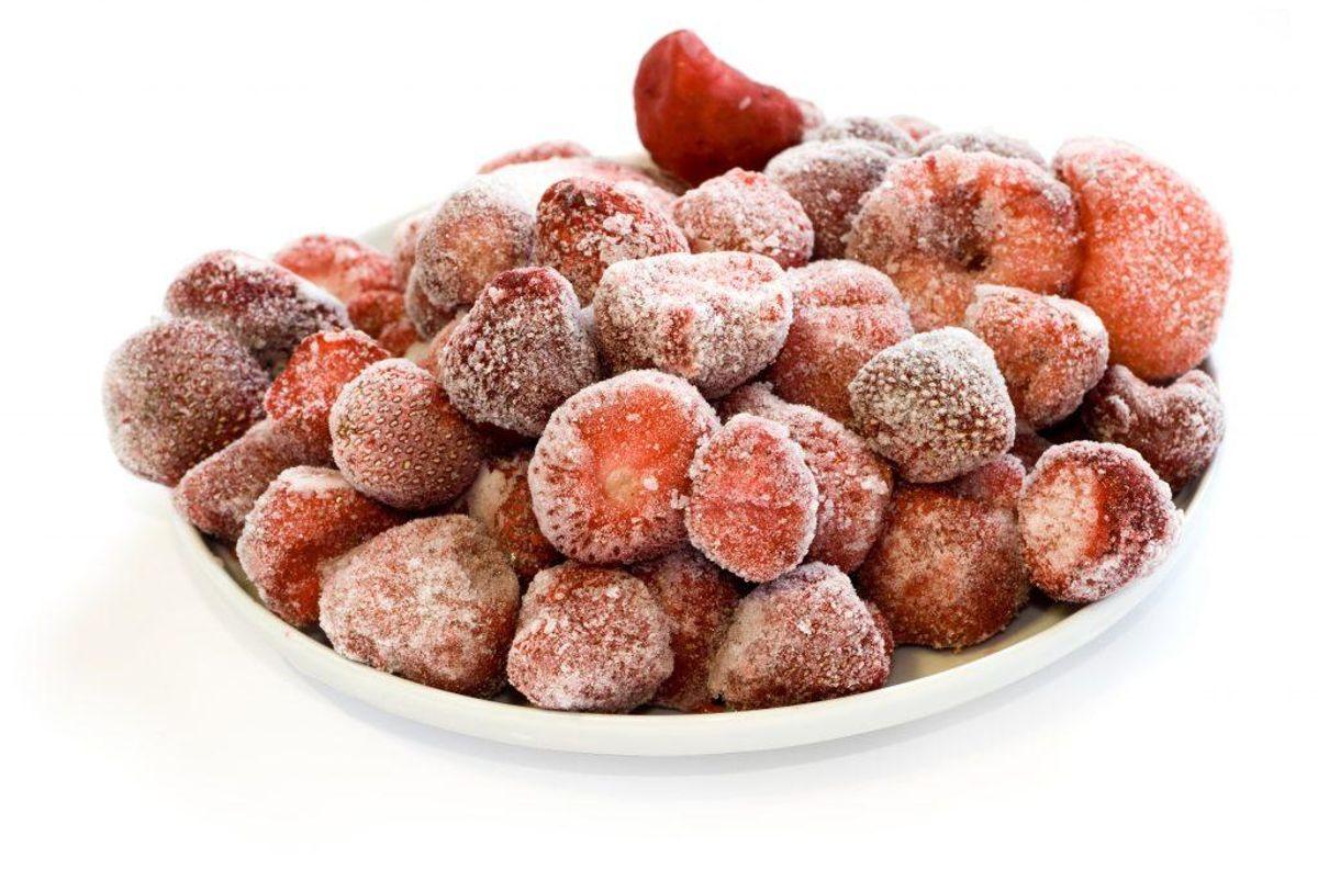 Det er frosne jordbær, den er gal med. Arkivfoto.