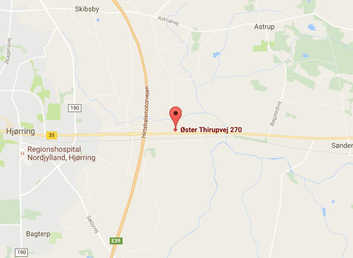 Den ulovlige slagter ligger her på Øster Thirupvej 270 i Hjørring. Foto: Google Maps.