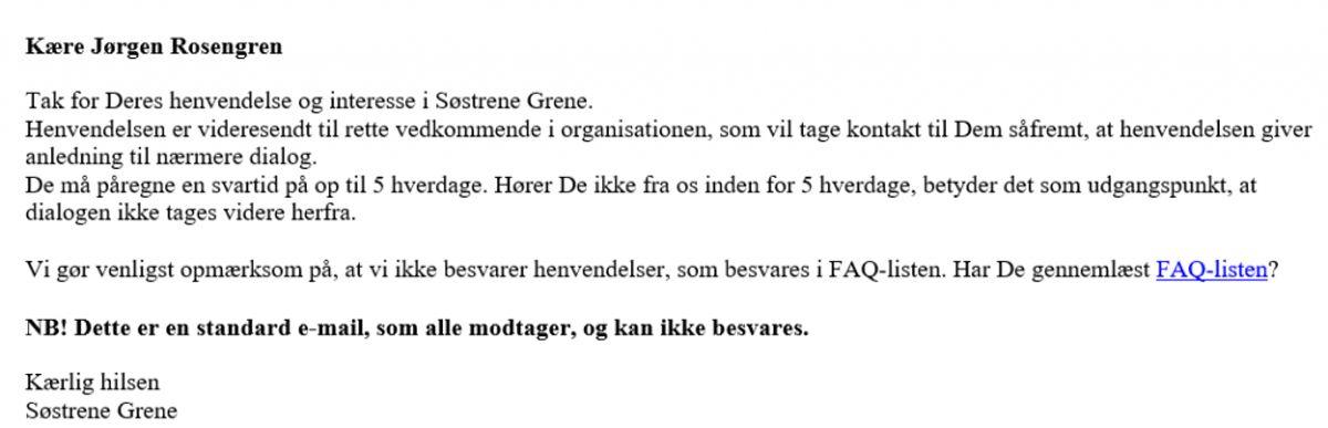 Svar fra Søstrene Grene. Foto: Skærmbillede.