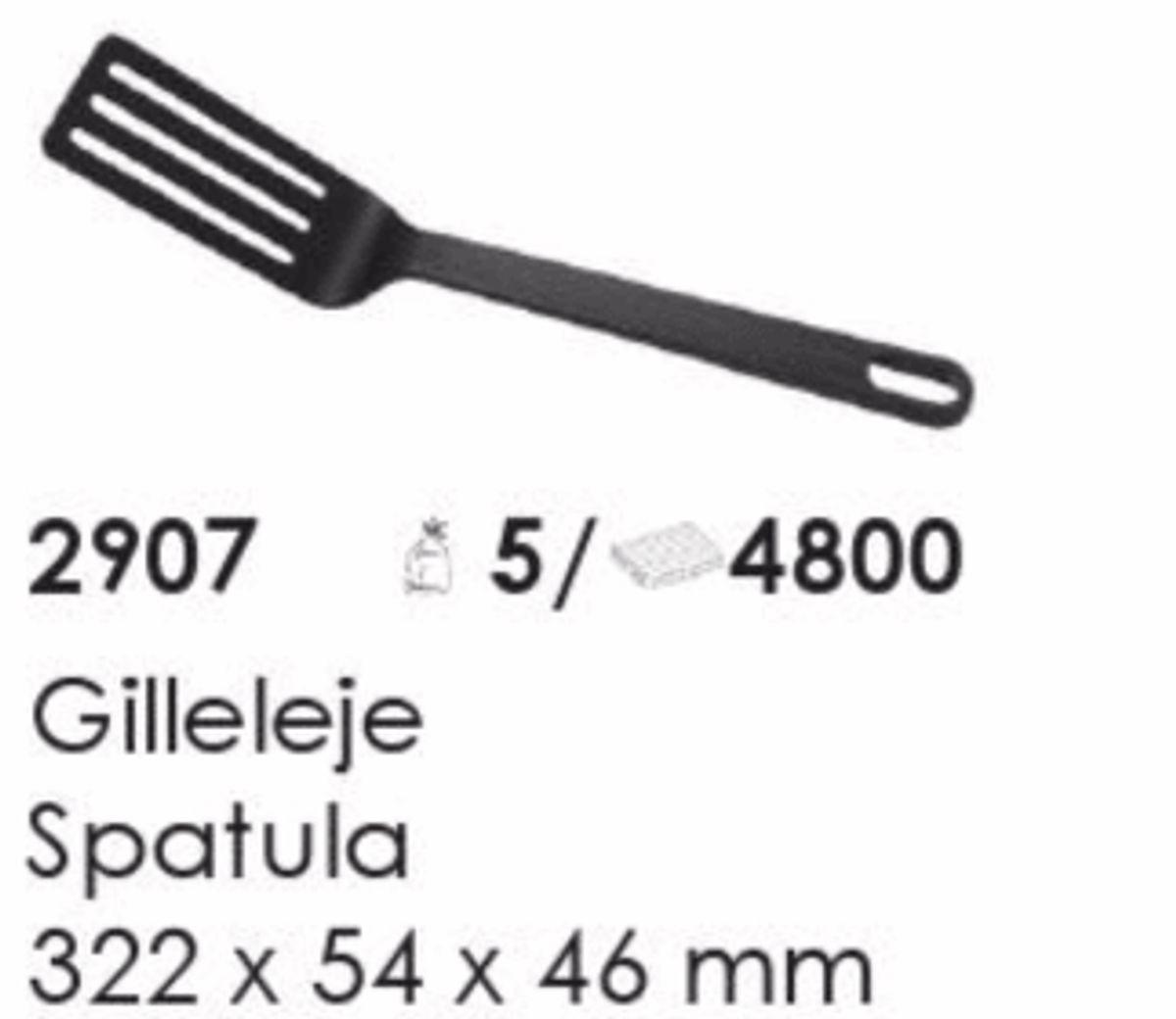 Gilleleje Spatula, artikel nr. 2907 (Spatel) Foto: Screenshot fra katalog fra Plast Team A/S.