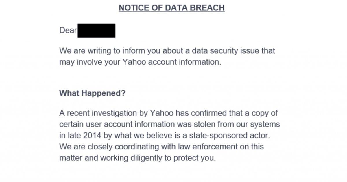 Notifikation om databrud. På normalt sprog: Et hack. Foto: Screenshot af mail