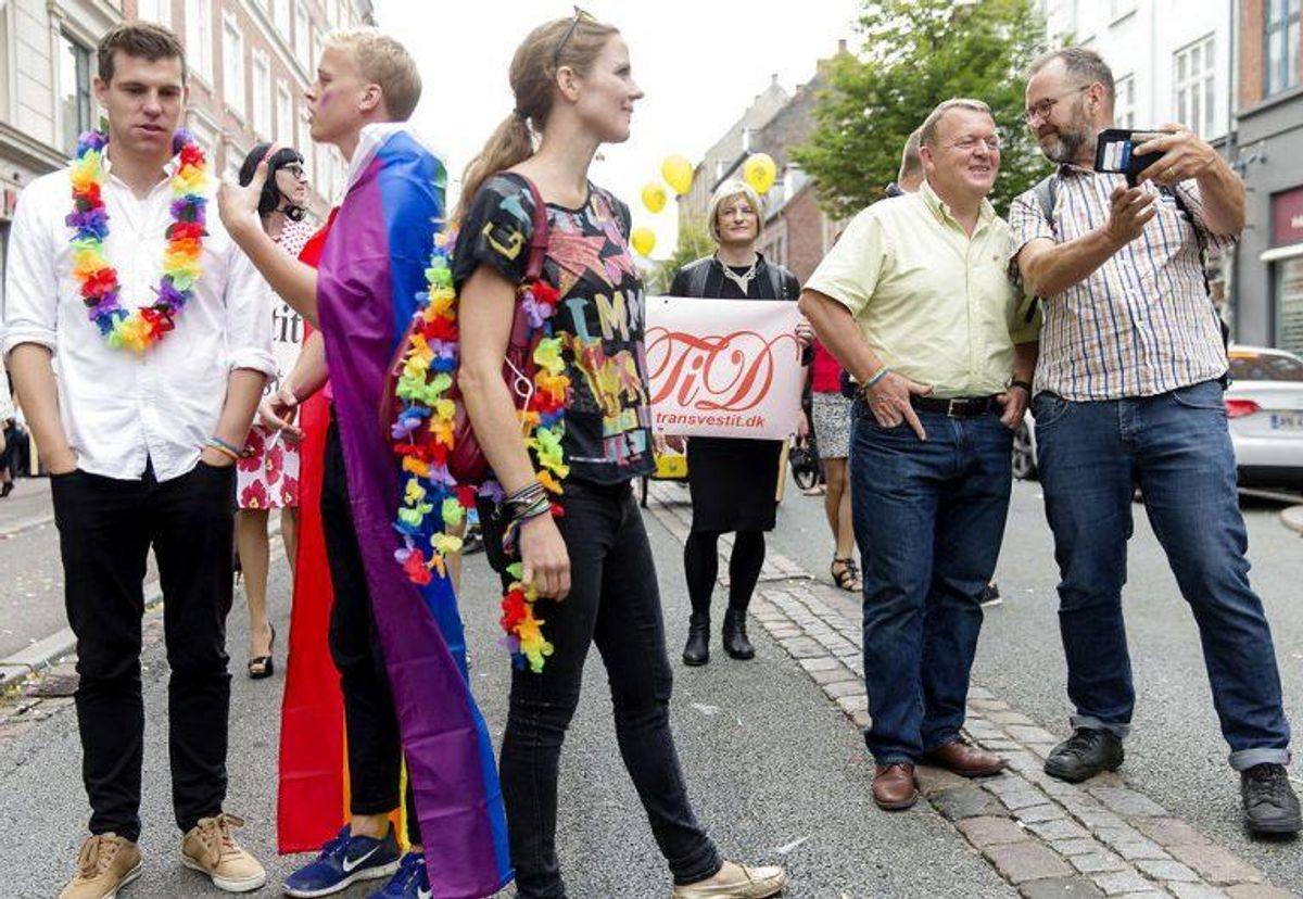 Elle Trane og Lars Løkke Rasmussen var også med på marchen.. Foto: Jens Astrup/Scanpix.
