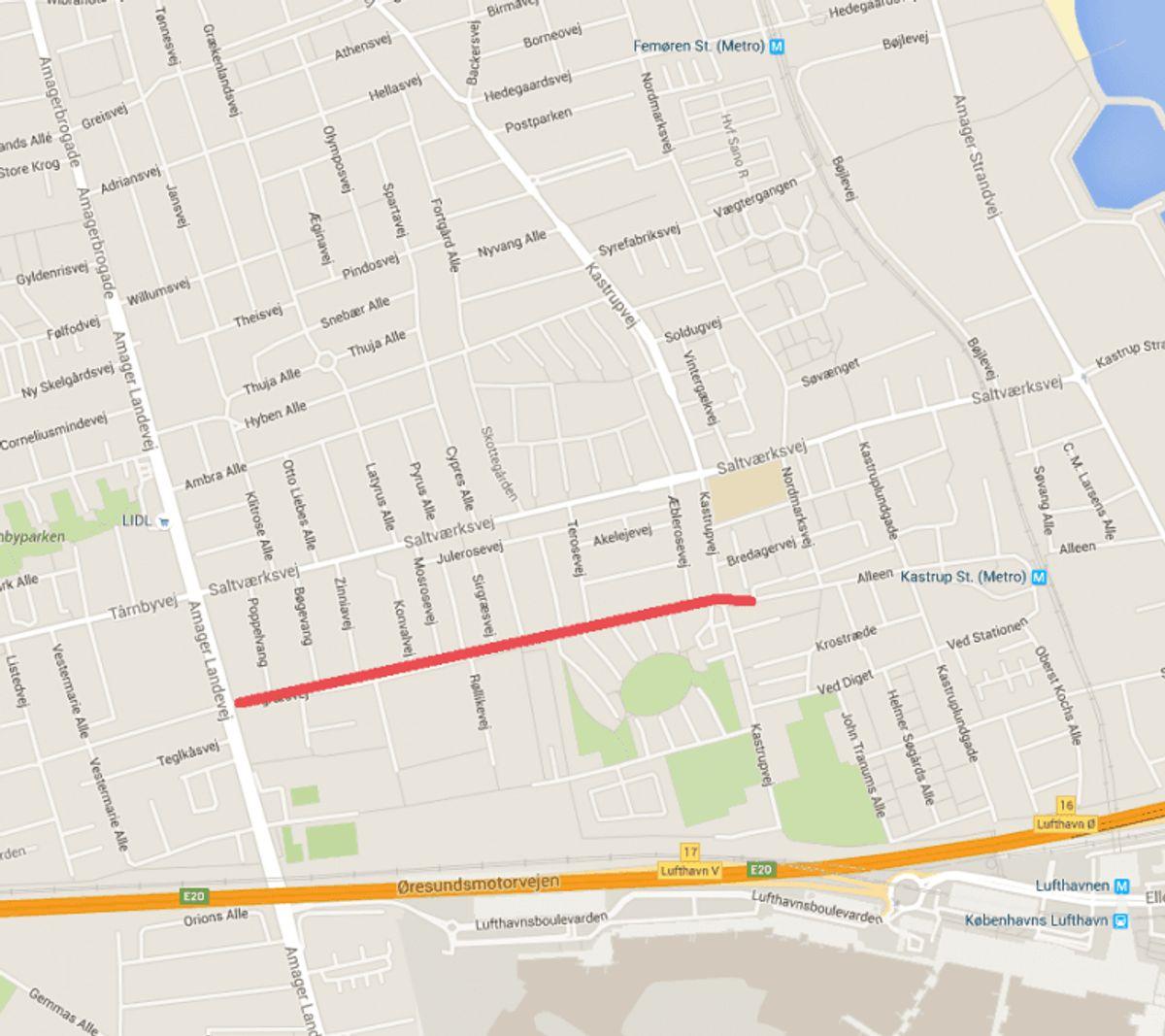 En mand er fredag aften blevet stukket ti gange med kniv af en bekendt på Sirgræsvej på Amager. Foto: Google Maps.