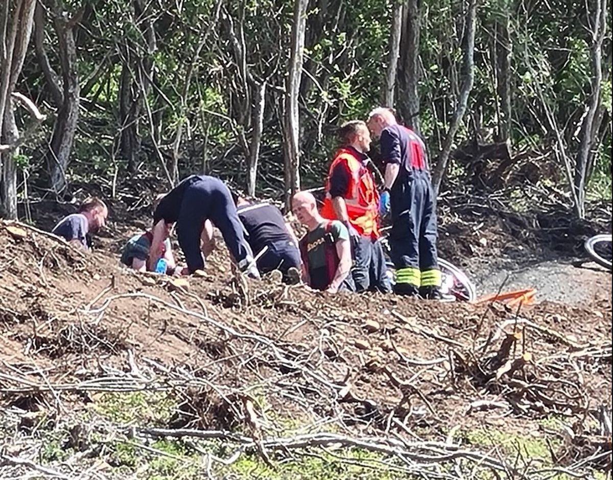 En mountainbiker er kommet til skade efter et styrt ved en skrænt. Foto: Presse-Fotos.dk