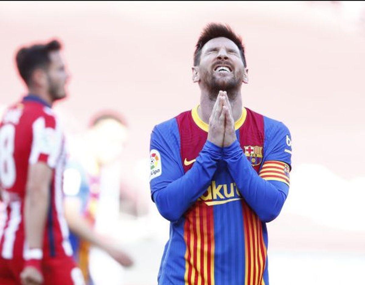 FC Barcelonas stjerneangriber Lionel Messi ærgrede sig efter en af sine brændte chancer mod Atlético Madrid. Foto: Joan Monfort/Scanpix