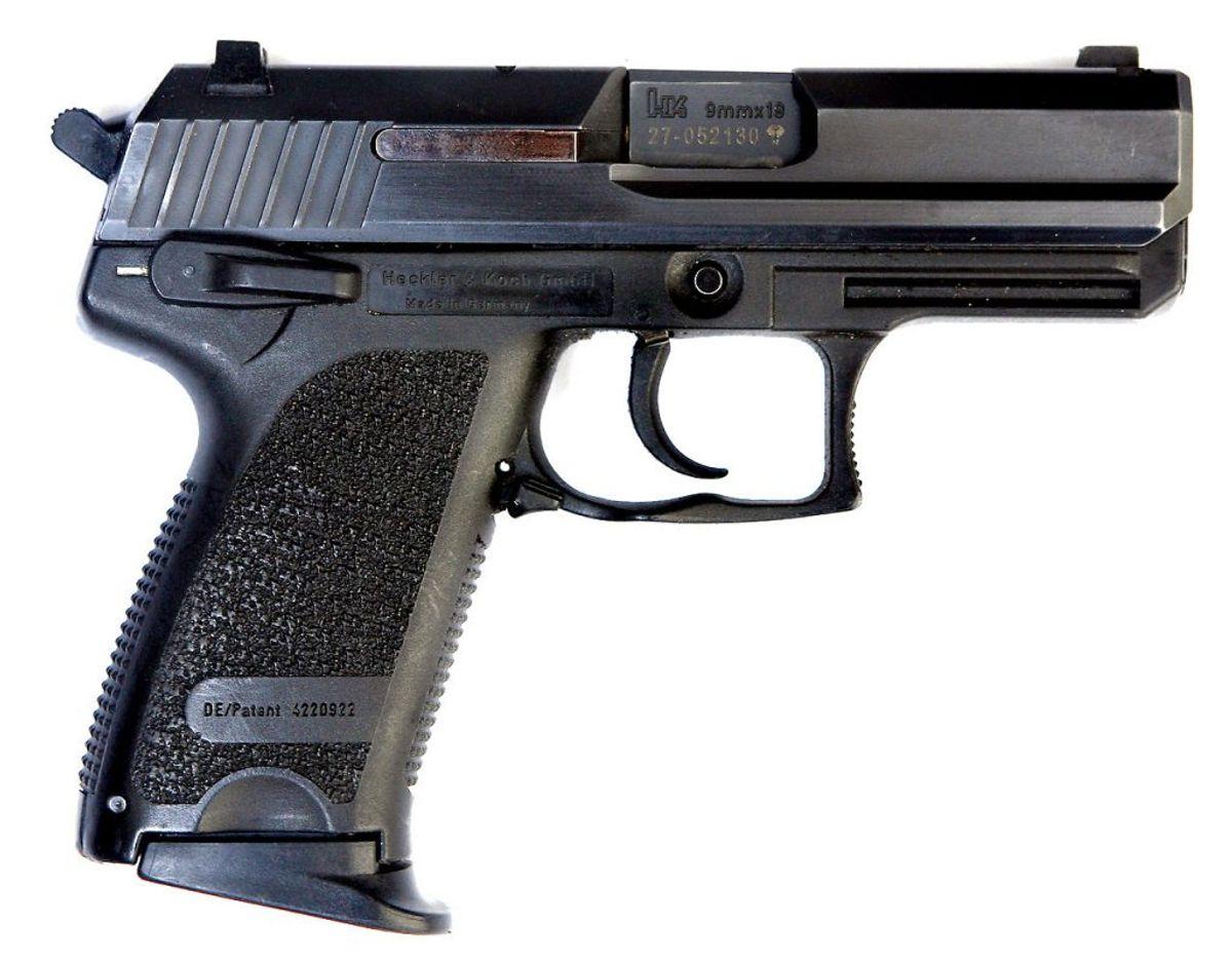 Politiets tjenestepistol Heckler og Koch UPS Compact 9mm automatpistol er ifølge DUP to gange blevet glemt på toiletter. Foto: Scanpix.