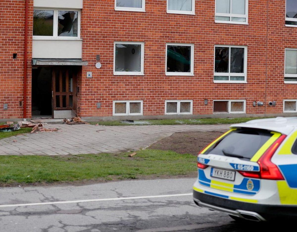 To af eksplosionerne ramte boligblokke. Foto: Presse-fotos.dk.