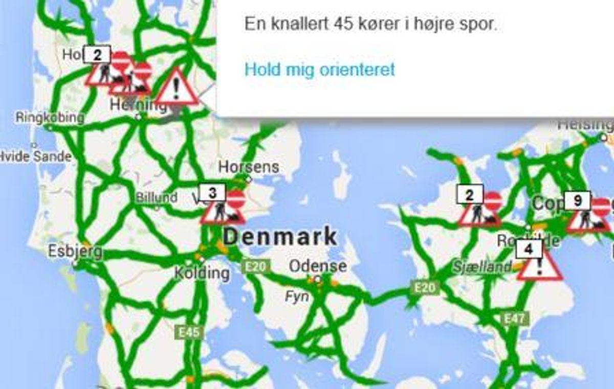 Hændelsen fandt sted på  Herningmotorvejen fra Silkeborg mod Herning mellem Bording og Ikast Ø. Foto: Trafikken.dk