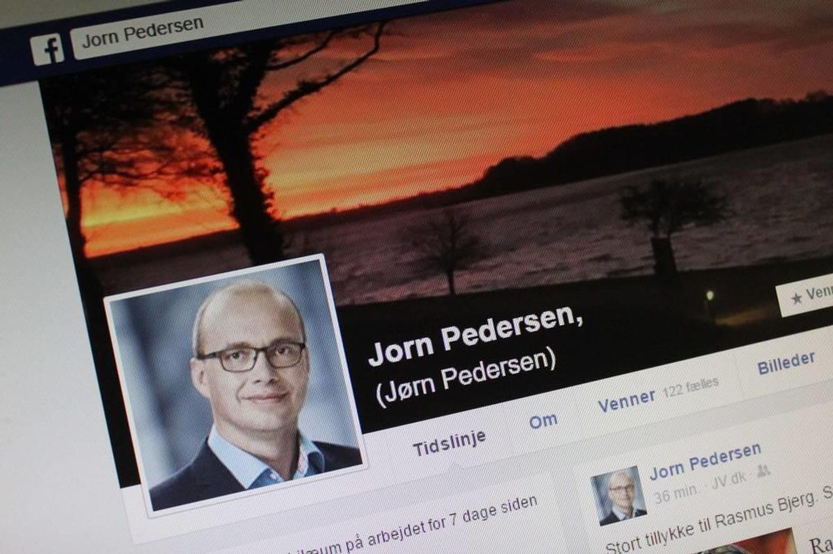 Her ses Jørn Pedersens Facebook-side og som du kan se, hedder han nu Jorn Pedersen. Foto: Elo Christoffersen.