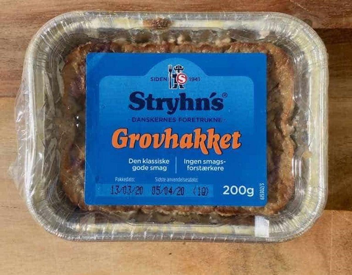 * * Stryhn's Grovhakket: Stryhn's grovhakket leverpostej har en meget grov konsistens. Der er tydelige leverklumper, mens resten af konsistensen er meget blød og næsten for tynd. Den har en kraftig leversmag med en mild krydring, og kunne være bedre afstemt. Pris: 8,50 kroner per 100 gram (16,95 for 200 gram i Rema 1000). Tilsætningsstoffer: Konserveringsmiddel (sorbinsyre), antioxidant (natriumascorbat), stabilisator (E451). Foto: Madensverden.dk.