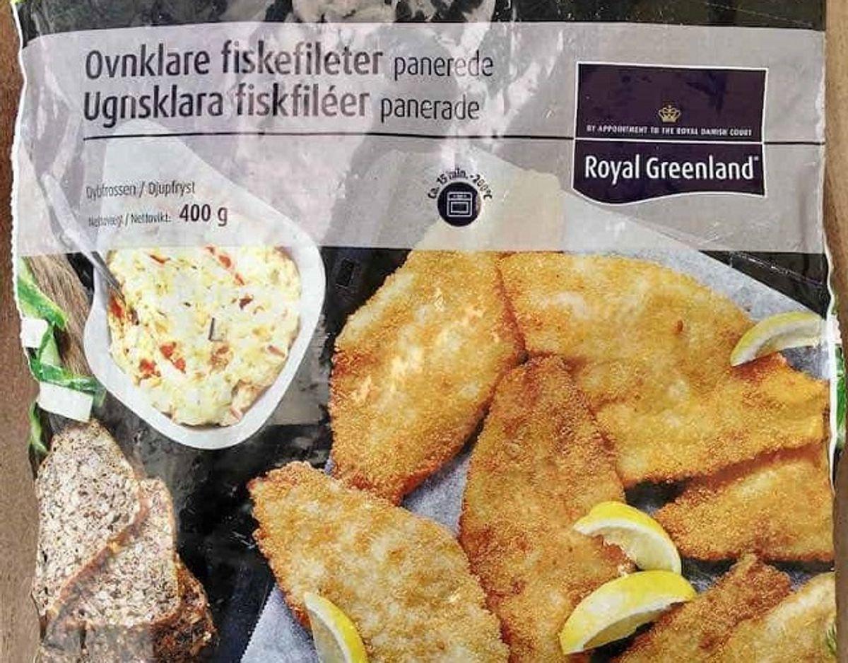 * Royal Greenland Ovnklare fiskefileter: Ovnklare fiskefileter fra Royal Greenland er meget små med en sprød, men tyk panering. Fisken smager ikke frisk og er fedtet og usammenhængende og ligner, den er sammensat af fiskestykker. Pris per 100 gram: 10 kroner (40 kroner for 400 gram i Netto). Fisk: Skrubbe (54 %). Foto: Madens Verden.