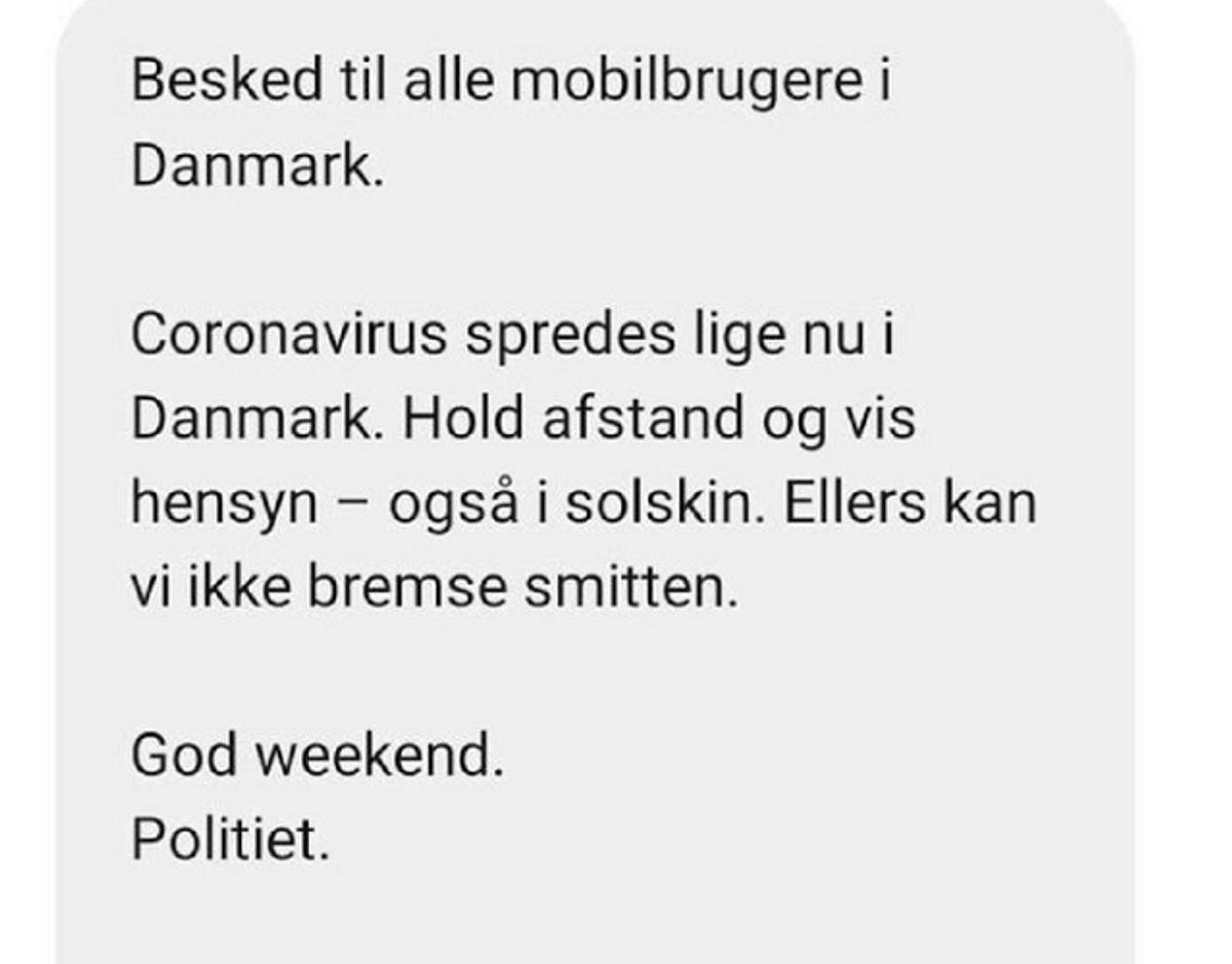 Det var denne SMS politiet lørdag udsendte til ni millioner danske mobilnumre. Screenshot.