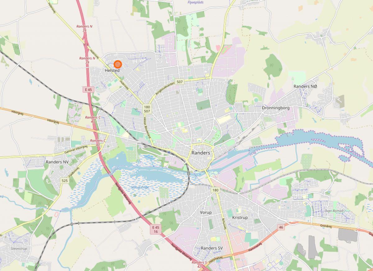Stjernehuset ligger i Randers NV. (Foto: Openstreetmap.org)