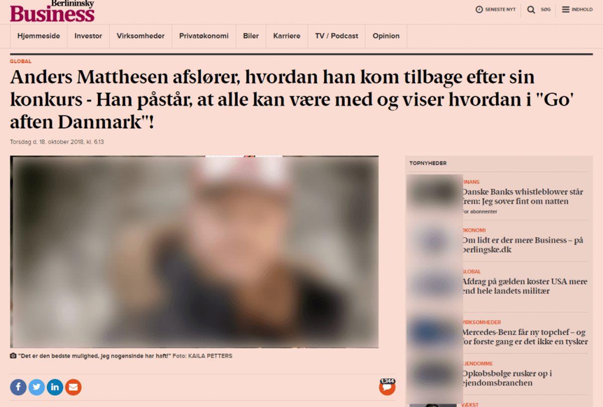 Det leder til denne falske artikel. Foto: SCREENSHOT