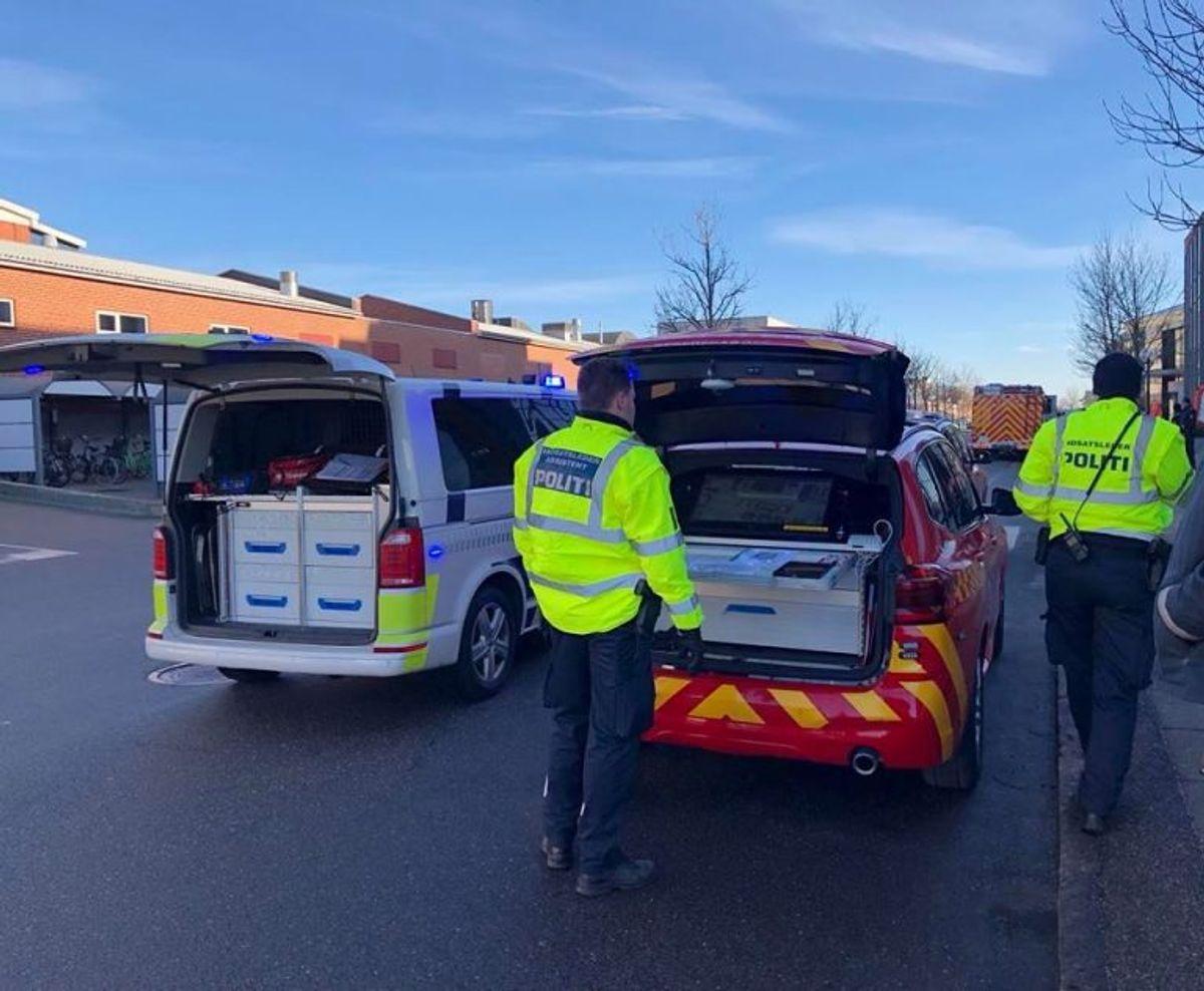 Ledelsesplatform. Beredskab Østs og politiets indsatsledervogne. Foto: Beredskab Øst.