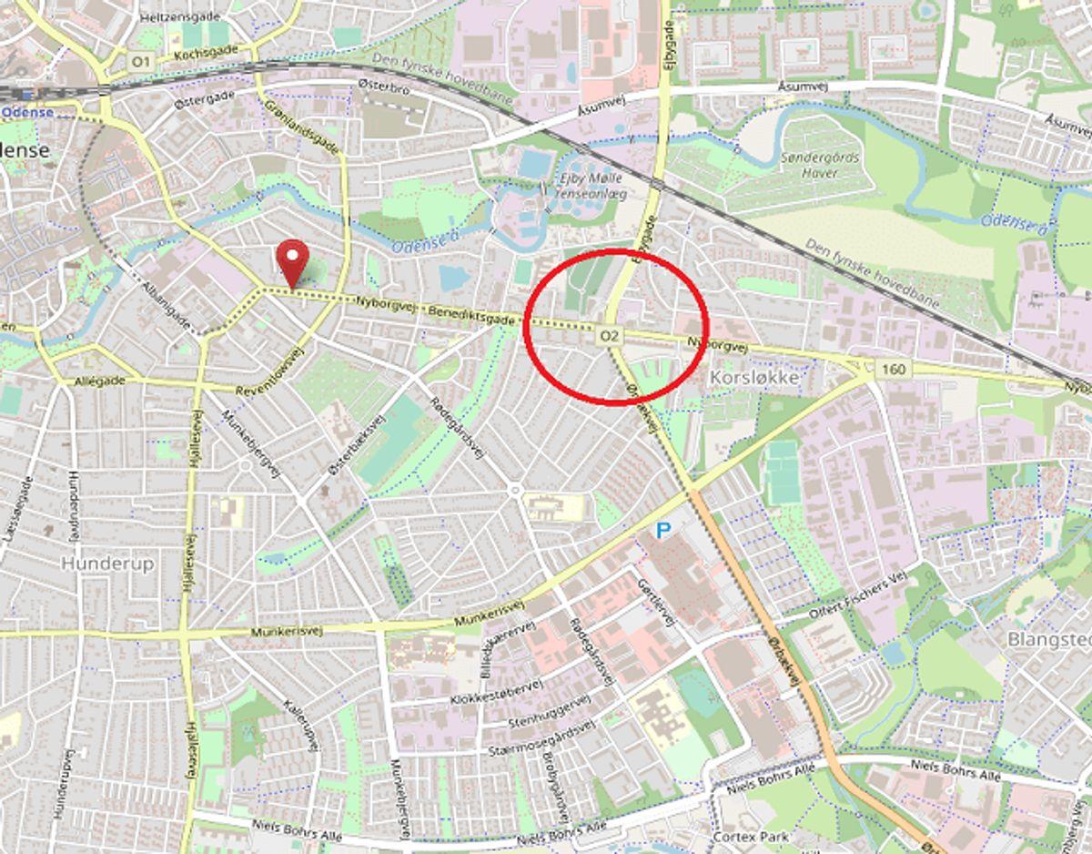 Også her er der spærret. Foto: OpenStreetMap-bidragsydere.