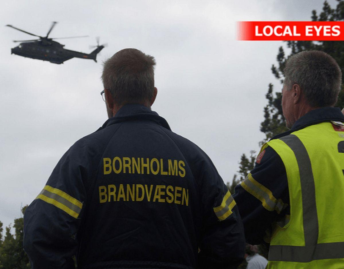 Sådan så der ud mandag på Bornholm. Det lykkedes ikke at finde svømmeren. Han blev fundet død tirsdag. KLIK for flere billeder – og lær, hvordan DU undgår hestehuller. Foto: Local Eyes.