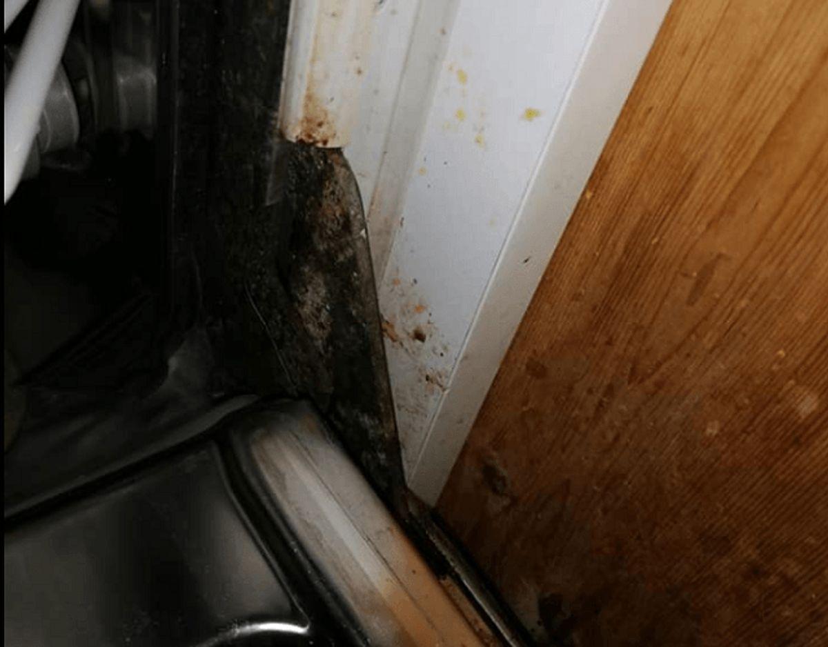 Sådan så der ud, da Jan overtog det hus, han og hustruen har lejet hos Dancenter. KLIK for flere billeder. Foto: Privat.