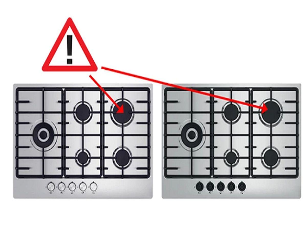 Denne gaskogeplade udleder for meget kulilte. Det er disse, du skal være opmærksom på. Og tilkalde en tekniker til at reparere. Foto: Ikea.