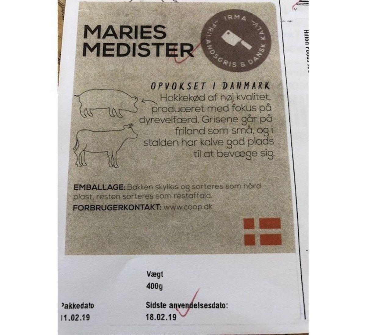 """Problem: Salmonella i medisterpølse Hvilken fødevare: """"Maries medister"""" (se billede) Nettovægt: 400 gr Produktionsdato: 11/02/2019 Sidste anvendelsesdato: 18/02/2019 EAN-nr.:5700381040811 Solgt i: Irma-butikker Via hjemmesiden: coop.dk (Foto: Fødevarestyrelsen)"""