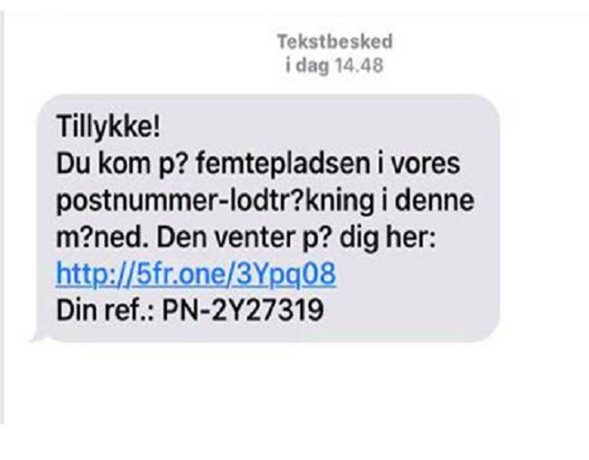 Sådan kan en falsk besked, der udgiver sig at være fra Postnord, se ud. KLIK for flere. Foto: Postnord.