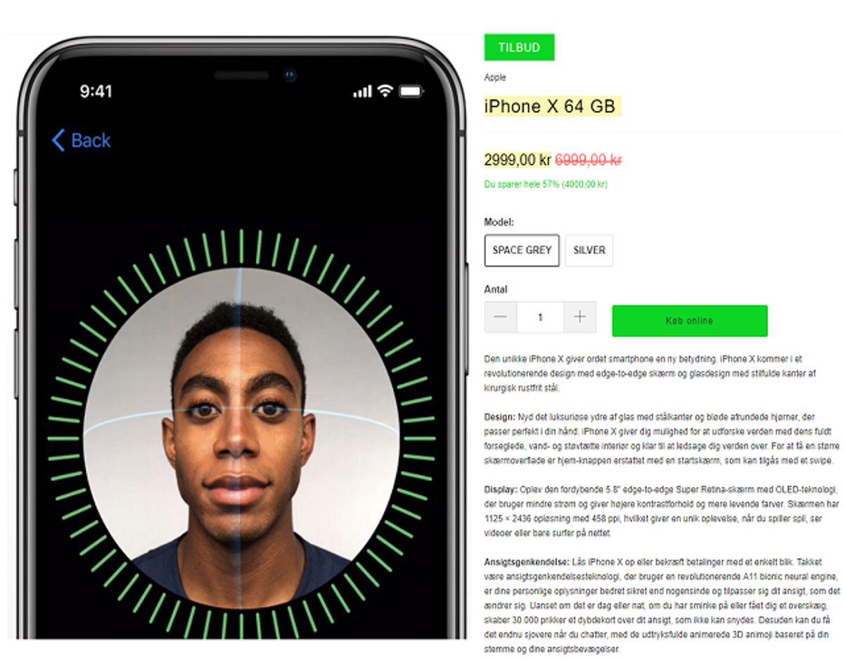 Sådan ser det falske tilbud på den falske side ud. Foto: Screenshot.