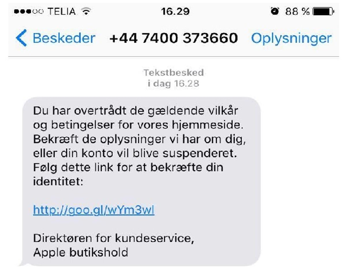 Denne SMS er heller ikke fra Apple.