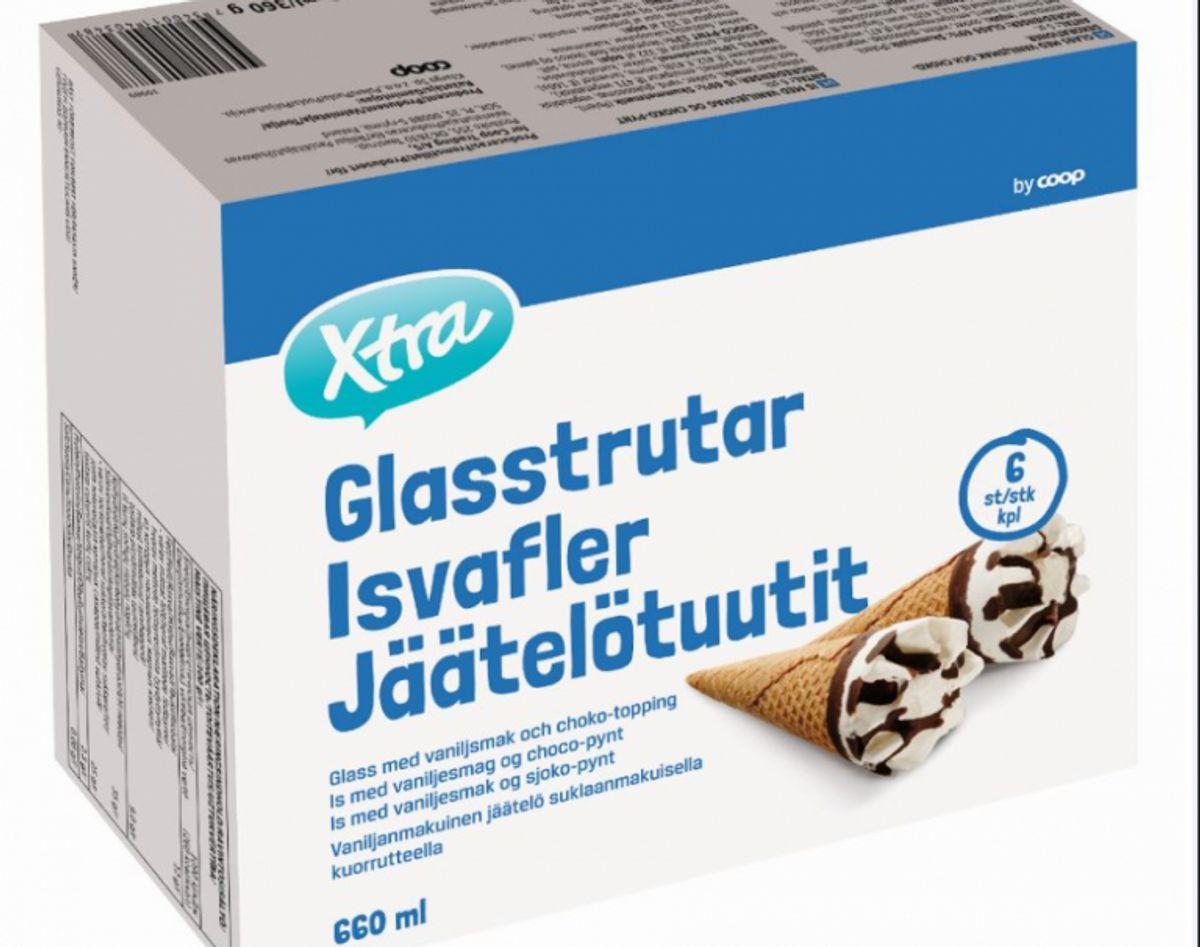 Udeklareret allergen i isvafler: X-tra Isvafler Nettoindhold: 6 stk. á 110 ml Bedst før dato: 12/12/2019 EAN stregkode nr.: 7340011403487 Solgt i: Kvickly, SuperBrugsen, DagliBrugsen, Fakta og Brugsen i hele landet samt på Coop.dk Mad Årsag: Der er risiko for, at produktet indeholder æg, hvilket ikke er deklareret. Risiko: Der er risiko for en allergisk reaktion hos forbrugere med allergi over for æg. Foto: FVST