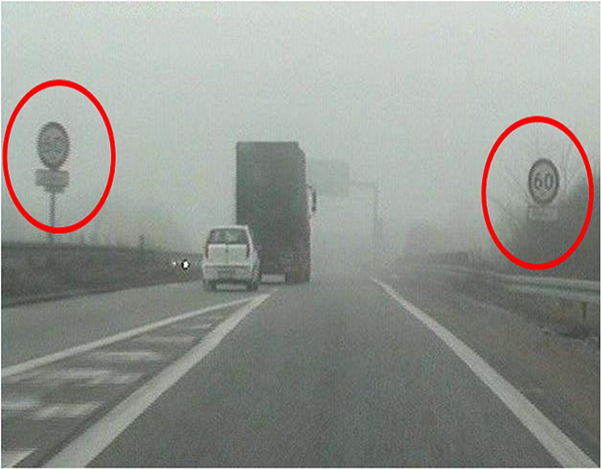 Her ses skiltene med de 60 kilometer i timen. Foto: Sydøstjyllands Politi.