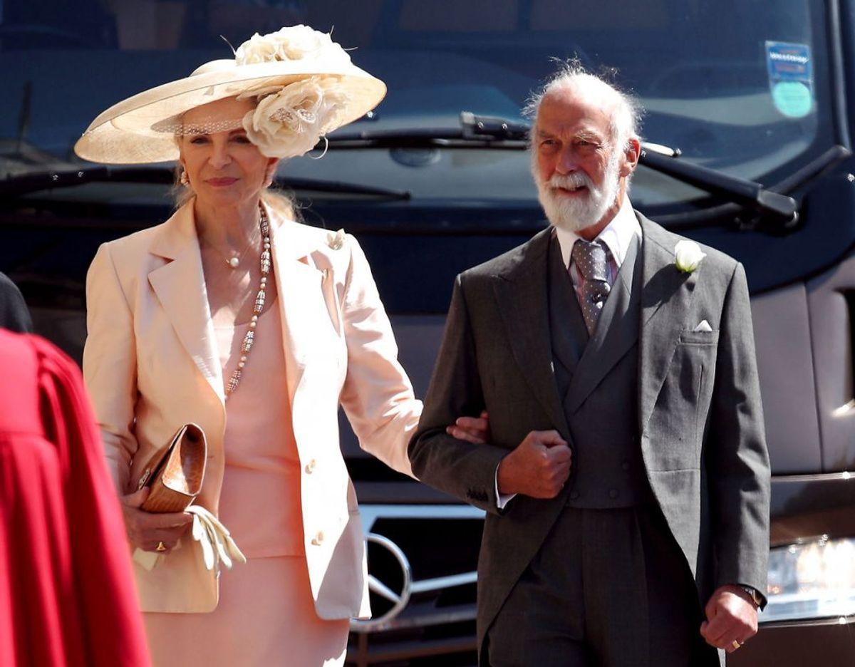 Prinsesse og Prins Michael af Kent ses her til Prins Harry og Hertuginde Meghans bryllup. Foto: Scanpix/Chris Radburn.