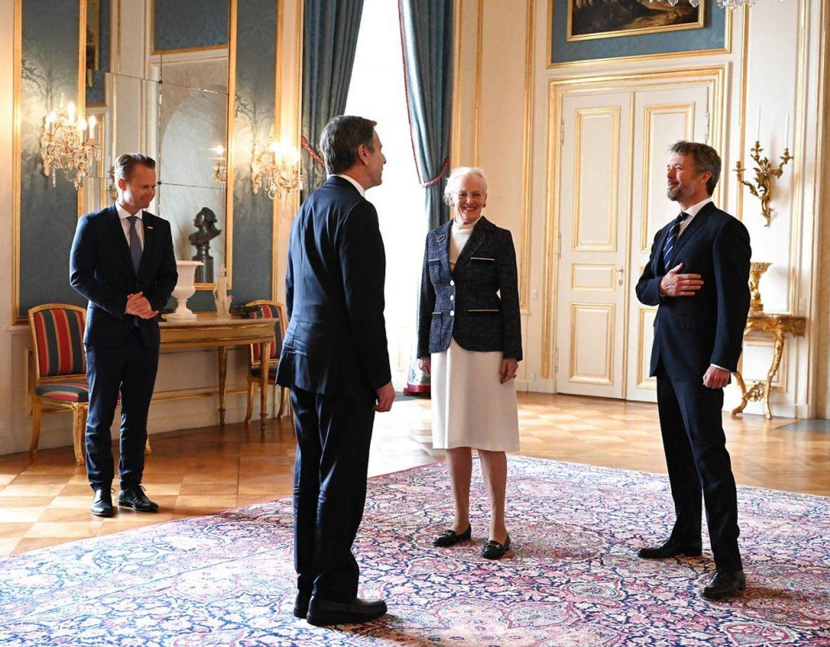 Også udenrigsminister Jeppe Kofod (S) var med på Amalienborg. Foto: Scanpix.